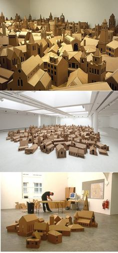 Cardboard turned into something profound and moving. (The Lamp of Sacrifice, 286 places of worship, edinburgh, 2004 by nathan coley) Cardboard City, Cardboard Sculpture, Cardboard Crafts, Paper Crafts, Instalation Art, 3d Modelle, Paper Houses, Stop Motion, Art Plastique
