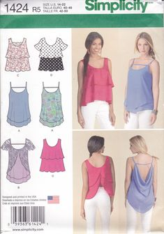 New Sewing Pattern 6 cute Summer Tops Tiered BacklessSleeveless  Simplicity Pattern 1424 Misses Women's Size  14/22 UNCUT by LanetzLiving on Etsy