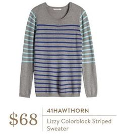 Not sure which color I like more! 41 Hawthorn - Lizzy Colorblock Striped Sweater - Stitch Fix