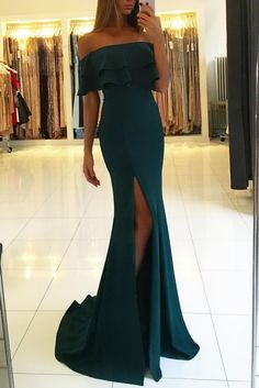 Off the Shoulder Prom Dresses ,Dark Green Prom