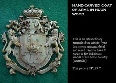 Coat of arms - hand-carved in Huon wood Australia Country, Tudor Style, Ceiling Panels, Wood Stone, Family Crest, Crests, Coat Of Arms, Hand Carved, Stained Glass