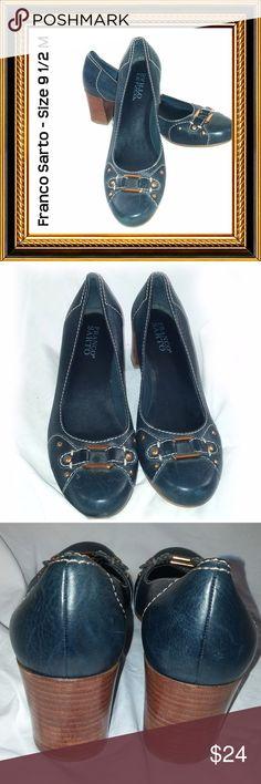 "FRANCO SARTO - Navy Blue Heels - Size 9 1/2 M Condition:  Excellent. Like New  Wood stacked heel  2 1/2"" heels Franco Sarto Shoes Heels"