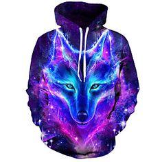Hoodie Sweatshirts, Printed Sweatshirts, Galaxy Wolf, Wolf Hoodie, Wolf Colors, Galaxy Outfit, Foto Top, Prints, Wolf 3d