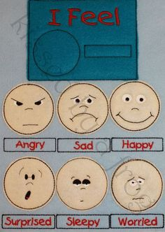 Feeling Chart - Design your own Quiet Book - Sad, Happy, Surprised, Angry, Sleepy, Worried