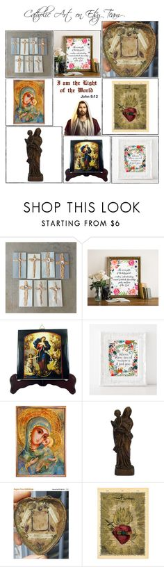 """""""Religious Art on Etsy by TerryTiles2014 - Volume 396"""" by terrytiles2014 ❤ liked on Polyvore featuring interior, interiors, interior design, home, home decor, interior decorating, gift, etsy, art and catholic"""