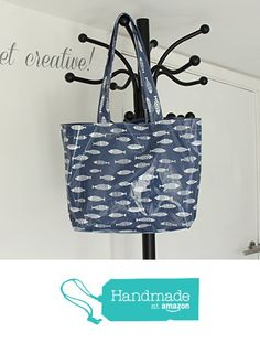 READY TO SHIP - Blue Fishes Oilcloth Book Bag Tote from Yummy Art and Craft https://www.amazon.co.uk/dp/B071RR5VJ7/ref=hnd_sw_r_pi_dp_yH0izbVK0TPYS #handmadeatamazon