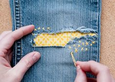 Find out the four secrets to a well-mended wardrobe at designmom.com in addition to following an easy tutorial to create this beautiful as well as durable Under Patch; the hand-sewn star stitches are not only cute, but they also help keep the patch firmly in place. You can use any fabric for the Under Patch, making this a great Patch for a boy or a girls pair of jeans!