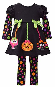 Bonnie Jean Multi Polka Dot Halloween Dress Leggings 2pc Set 6 -- You can find more details by visiting the image link.