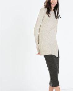 ZARA - WOMAN - TWEED SWEATER WITH SLIT