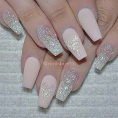 Glitter heart coffin nude pale pink nails