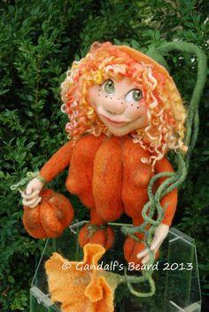 Needle felted pumpkin wool gnomewool pixieOOAK by GandalfsBeard, $260.00