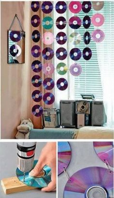 DIY Curtain Decoration With CDs.