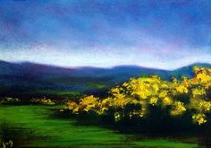 The Gorse Bush at Dawn, John O'Grady - www.johnogradypaintings.com #gorsebush #ireland - Carpets of yellow gold can be seen on the Dublin Mountains in springtime.