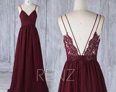 Spaghetti-Träger-Kleid, Brautjungfer Kleid Wein Chiffon Brautkleid, Illusion Spitze V Neck Maxi-Kleid, geraffte lange Abend Dress(H549)