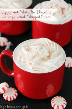 Peppermint White Hot Chocolate with Peppermint Whipped Cream [High Heels & Grills] Christmas Sweets, Christmas Drinks, Holiday Drinks, Christmas Morning, Christmas Tree, Just Desserts, Dessert Recipes, Yummy Recipes, Yummy Treats