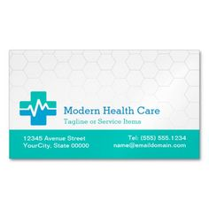 Modern Medical Health Care - White Green Blue Magnetic Business Cards (Pack Of Make your own business card with this great design. All you need is to add your info to this template. Click the image to try it out!