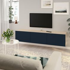 BESTÅ TV bench with doors - white stained oak effect, Selsviken high-gloss/white - IKEA Besta Tv Bank, Wall Mounted Tv Unit, Wall Units, Shelving Units, Soft Closing Hinges, Tv Bench, Ikea Family, Tv Unit Design, Living Room Tv