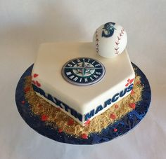 Wedding Cake | Seattle Mariners | Baseball | Mariners Themed Wedding | Fondant | Home plate | Baked Custom Cakes