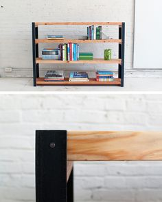 Shelves are a great way to maximize on your space, whether it's to store your books or organize household items. This shelf has a nice, rustic and modern look and is easy to make! Check out the site for the full instructions and material list! http://www.homemade-modern.com/ep36-ironbound-bookcase/