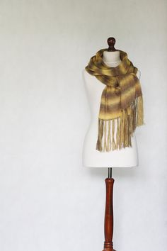 Brown shawl knit scarf knit shawl brown scarf by KnitwearFactory, $45.00
