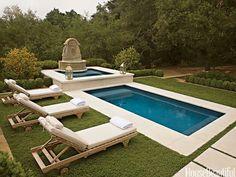 The pool of an Ojai, California house. Design: Molly Isaksen Interiors. Architecture: Nolan, Walmsley & Associates