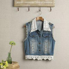 chinese mais barato 2013 primavera túnica sem mangas rendas colete jeans de moda feminina do vintage buraco emendados lavado jaquetas