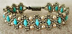 Linda's Crafty Inspirations: Bracelet of the Day: Duo Bobble Band - Pewter & Turquoise