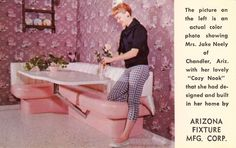 """(I hope the table swings out!) """"Cozy Nooks,"""" the famous built-in breakfast nooks, featuring lifetime Naugahyde upholstery with genuine matching Formica table tops - any size, shape or style.  ARIZONA FIXTURE MANUFACTURING CORP.Phoenix, Arizona"""