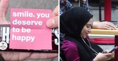 YouTuber Mustafa has created a video called 'Making Strangers Smile', and it will make you grin as well. He attached a note saying smile. you deserve to be happy onto a few Hershey's bars and handed them out to random strangers on a college campus.
