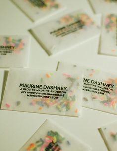 Make business cards with glassine envelopes and sprinkles. Business Card Maker, Make Business Cards, Business Card Design, Creative Business Cards, Baking Business Cards, Letterpress Business Cards, Brand Packaging, Packaging Design, Branding Design