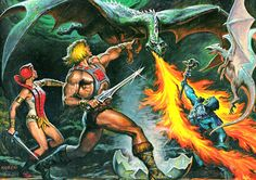He Man, Teela & Skeletor… and dragons.. (by the great Earl Norem)