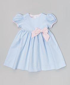 Light Blue Pique Puff-Sleeve Dress - Infant & Toddler