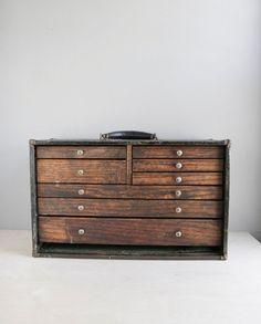 machinist's tool chest / wood & metal par ohalbatross sur Etsy, $265,00