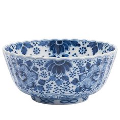 """Blue and white bowl (""""Kom, geribd"""") from the Traditonal collection at Royal Tichelaar Makkum."""