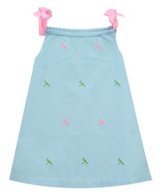 Loving this Light Blue Dragonfly Embroidered A-Line Dress - Toddler & Girls on #zulily! #zulilyfinds