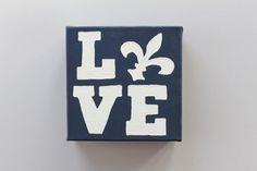LOVE Canvas With Fleur-de-lis. $12.00, via Etsy.