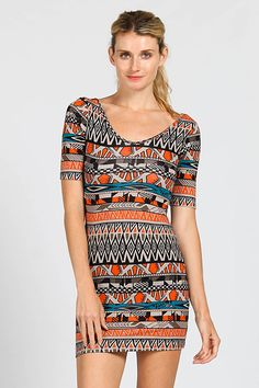 95% COTTON 5% SPANDEX.ETHNIC PRINT SCOOP BACK SHORT SLEEVE KNIT BODYCON DRESS.MADE IN U.S.A.