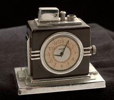 Art Deco Table Lighter, Clock, SUPERB.