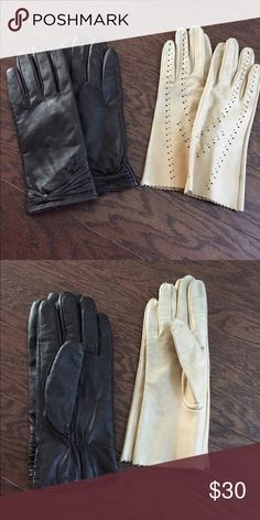BUNDLE leather gloves 2 pairs of leather gloves, black and white off/beige, perfect foe winter. Accessories Gloves & Mittens