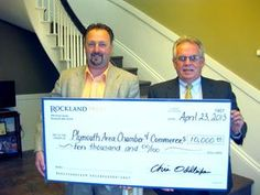 Rockland Trust granted $10,000 to the Plymouth Area Chamber of Commerce. Pictured here are Denis Hanks, executive director of the Plymouth Area Chamber of Commerce, and Paul Vickery, senior vice president of commercial lending at Rockland Trust.