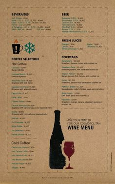 Art of the Menu: Cozmo Café / cocktail list