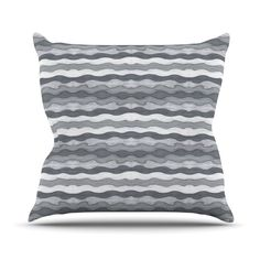 "Empire Ruhl ""51 Shades of Gray"" Gray White Outdoor Throw Pillow"