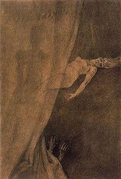Felicien Rops ~Le Rideau Cramoisi, 1879.