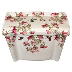 Pink & white roses design painted on a biscuit St Thomas Arlington toilet tank & lid. Accented with three hummingbirds, the roses are in shades of pink and white with green leaves and brown stems.