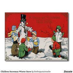 Children Snowman Winter Snow Postcard