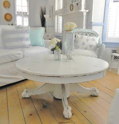 SOLD  coffee table shabby chic painted white furniture by backporchco, $525.00
