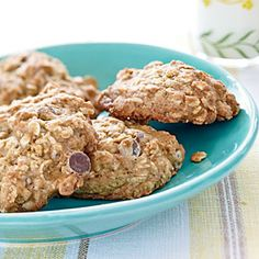 Banana Oatmeal Chocolate Chip Cookies #cooking light. I made these last night and they taste just like banana bread!