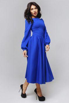 MIDI BLUE ELEGANT DRESS