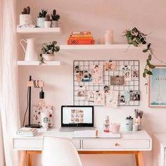 A pink home office. A pink home office. A pink home office. Study Room Decor, Cute Room Decor, Room Ideas Bedroom, Bedroom Decor, Room Setup, Bedroom Inspo, Indie Room Decor, Wall Decor, Desk Setup