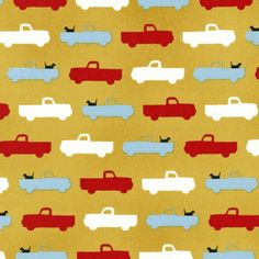 Gold trucks and dogs fabric at www.warmbiscuit.com